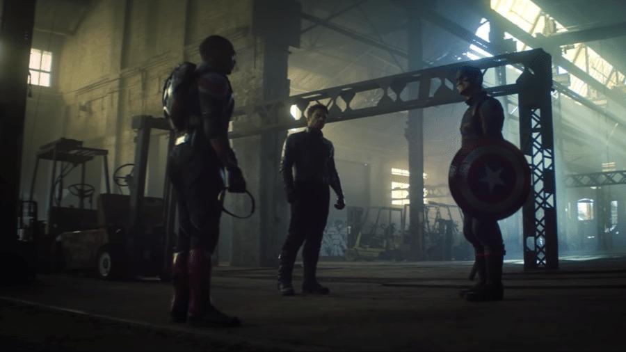 """Sam, Bucky e John Walker se enfrentam em teaser de """"Falcão e o Soldado Invernal"""" - Reprodução/YouTube"""