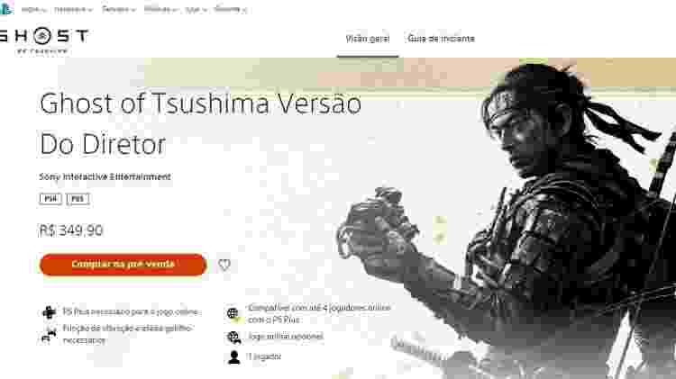 Ghost of Tsushima Diretor's Cut vendido a R$ 350 - Reprodução/START - Reprodução/START
