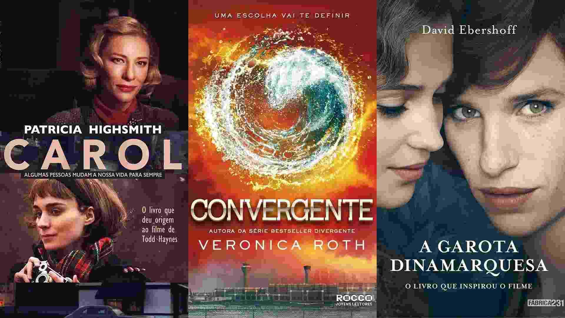"""Montagem com capas dos livros """"Carol"""", """"Convergente"""" e """"A Garota Dinamarquesa"""" - Divulgação"""
