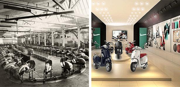 Vespa: linha de montagem na Itália (1950) é comparada às novas butiques no Brasil - Arte UOL Carros sobre Divulgação