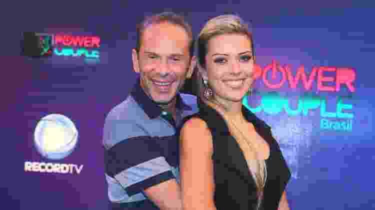 "Rafael Ilha e Aline Kezh na coletiva do ""Power Couple"", que estreou na terça (18) na Record - Thiago Duran/AgNews - Thiago Duran/AgNews"