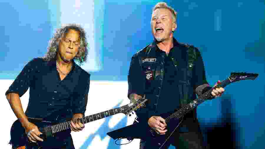 Kirk Hammett e James Hetfield, guitarristas do Metallica - Alexandre Schneider/UOL