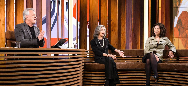 Pedro Bial entrevista a presidente do Superior Tribunal Federal, Cármen Lúcia, e a atriz Fernanda Torres - Divulgação/TV Globo/Ramon Vasconcellos