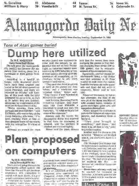 Notícia do enterro da Atari no jornal Alamogordo Daily News em 25 de setembro - Reprodução/Alamogordo Daily News