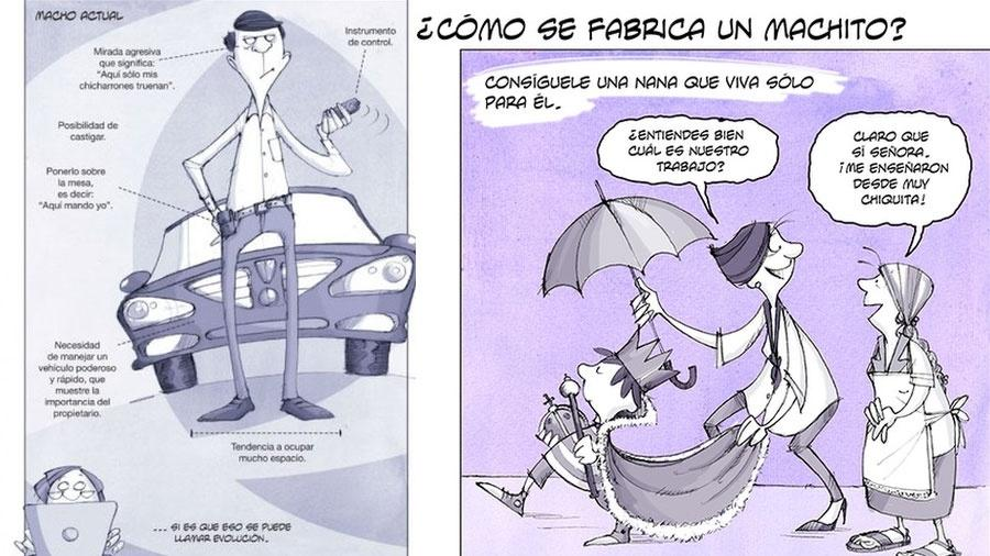 """Imagens do livro """"O machismo ilustrado"""" de Marina Castañeda - Reprodução/BBC"""