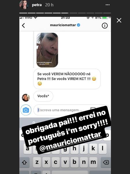 Petra Mattar mostra bronca que levou do pai, Maurício Mattar - Reprodução/Instagram