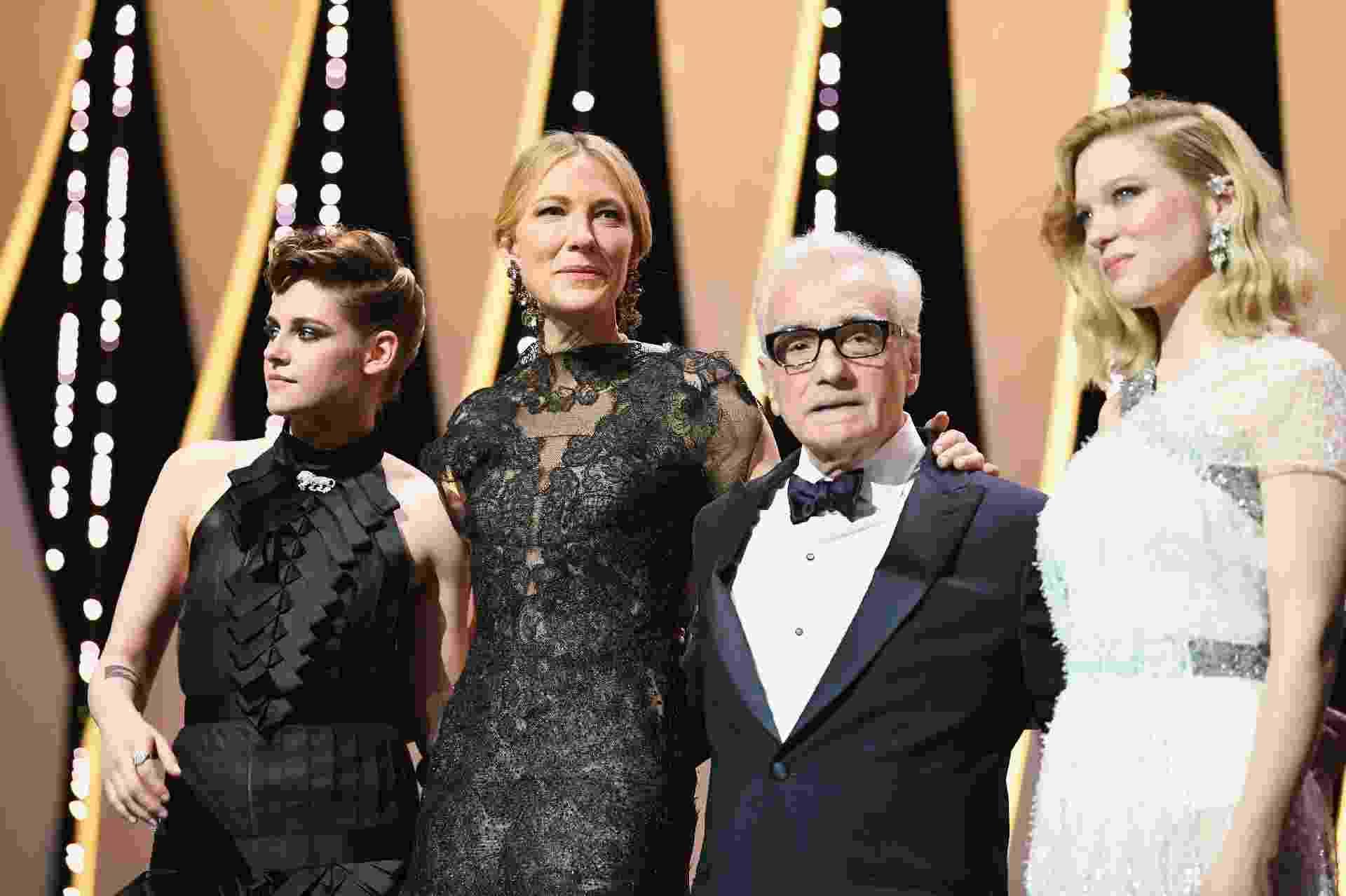 Jurada Kristen Stewart, presidente do júri Cate Blanchett, o homenageado Martin Scorsese e a jurada Lea Seydoux posam juntos na cerimônia de abertura da 71ª edição do Festival de Cannes - Pascal Le Segretain/Getty Images