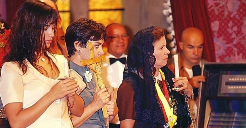 """Isadora Ribeiro, Nívea Maria e Eloísa Maria em cena da novela """"Pedra sobre Pedra"""" (1992)"""