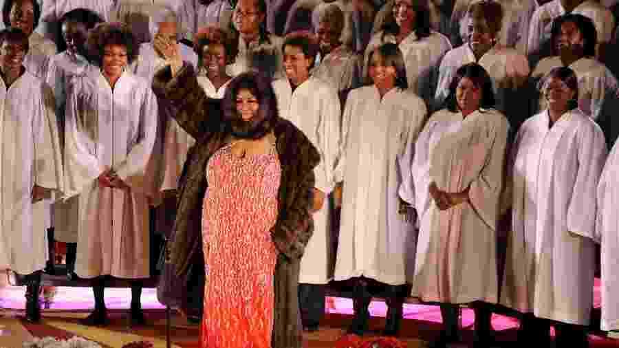 Aretha Franklin se apresentando em 2009, no Rockfeller Center, em Nova York, - Getty Images