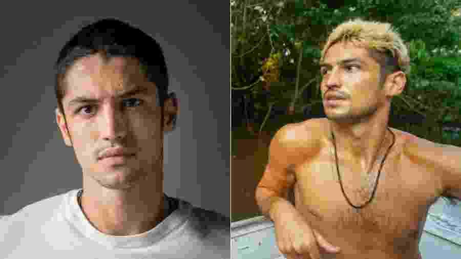 """Gabriel Leone antes e depois de sua caracterização para o longa """"Cidade Ilhada"""" - Reprodução/Instagram"""