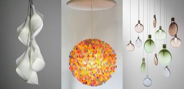 As luminárias Shell Light, Candelier e Nebra impressionam pela delicadeza do design - Divulgação/ Montagem UOL