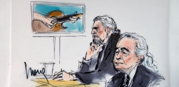 Ilustração mostra Robert Plant e Jimmy Page no tribunal em Los Angeles, na Califórnia - REUTERS/Mona Edwards