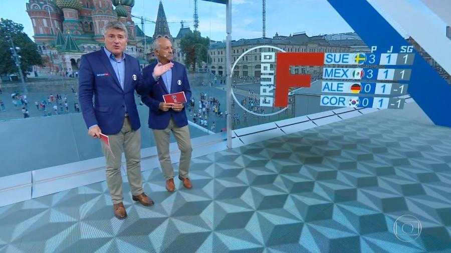 Cleber Machado e Junior na Copa do Mundo da Rússia - Reprodução/TV Globo