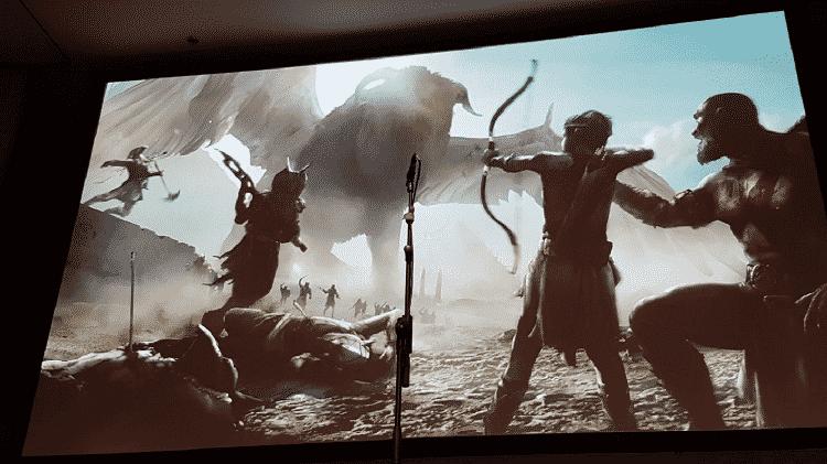 Kratos e Atreus atacam guerreiros egípcios em imagem conceitual - Reprodução/Gearnuke