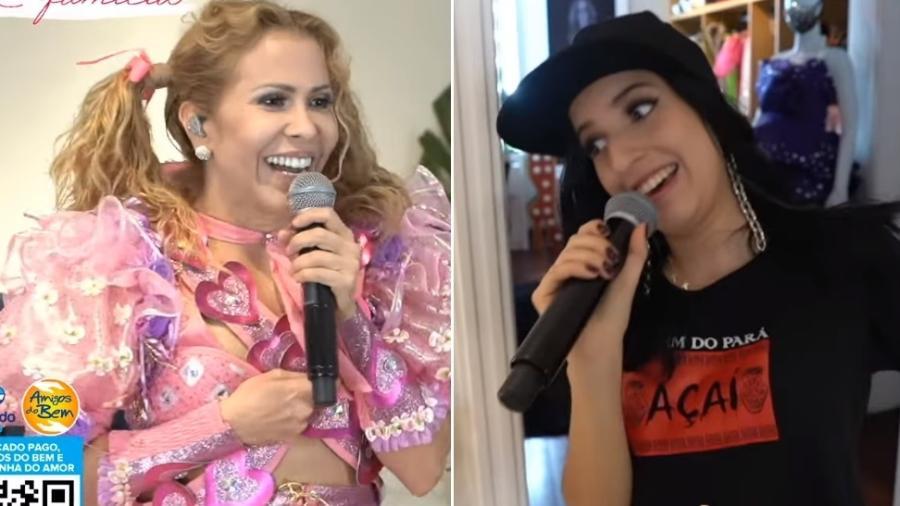 Joelma perdeu o top em live e foi acudida pela filha Yasmin - Reprodução/Instagram