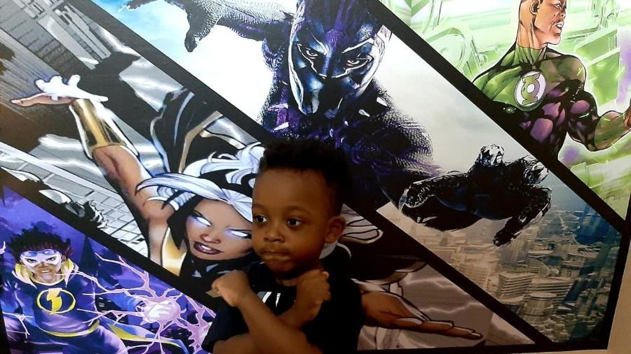 Bento, de 3 anos, é fã do Pantera Negra - Arquivo pessoal/Claudiane Gomes