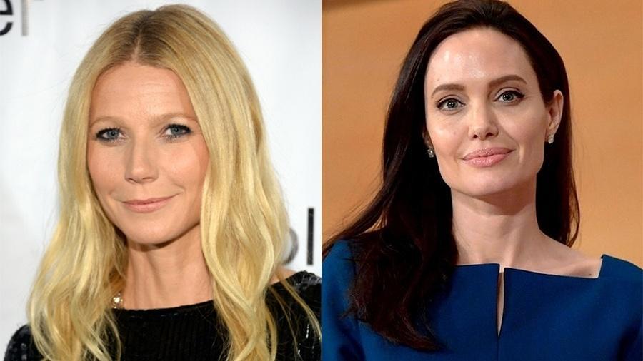 As atrizes Gwyneth Paltrow e Angelina Jolie, que revelaram terem sido assediadas pelo produtor de Hollywood Harvey Weinstein - Getty Images