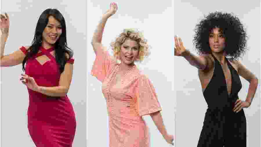 """Bárbara Borges, Geovanna Tominaga (à esquerda), Bárbara Borges (centro) e Raissa Santana (à direita) fazem final do """"Dancing Brasil"""" - Divulgação/TV Record Montagem/UOL"""