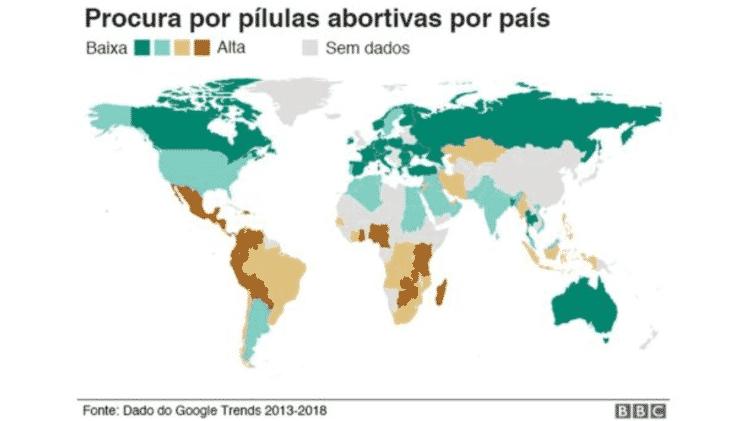 Infográfico: Procura por pílulas abortivas por país - BBC - BBC