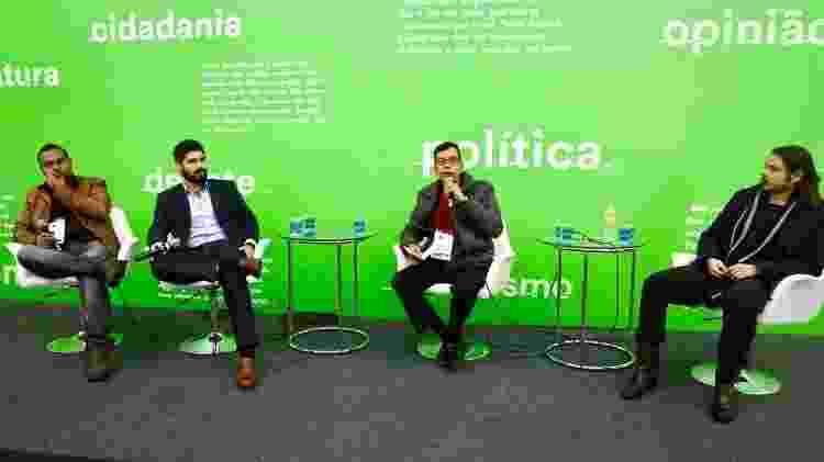 Da esquerda para direita: Gabriel Tennyson, Marcos DeBrito, Antonio Carlos Sartini (mediador) e Santiago Nazarian - Iwi Onodera/UOL - Iwi Onodera/UOL