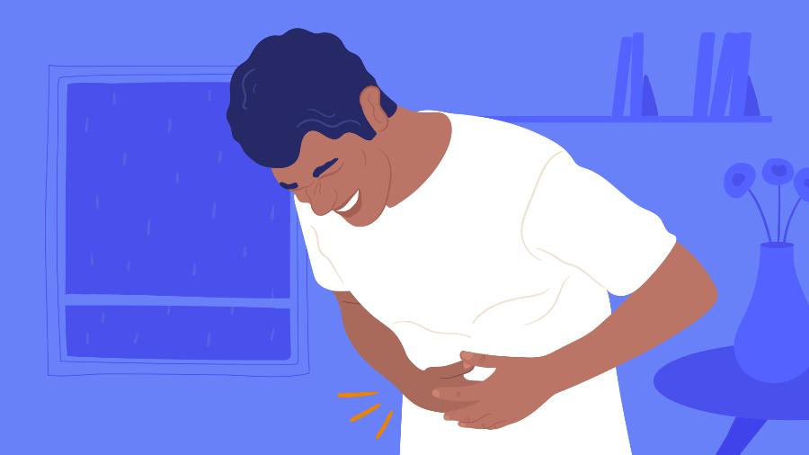 dor no lado direito do abdome, costas e perna