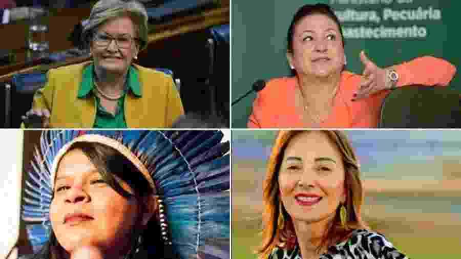 Assim como em 2014, foram registradas as candidaturas de 4 mulheres no cargo de vice-presidente: Ana Amélia, Katia Abreu, Sônia Guajajara e Suelene Balduino (em sentido horário); ao trocar de candidato, chapa PT-PCdoB coloca mais uma mulher como vice - BBC