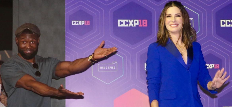 Trevante Rhodes e Sandra Bullock na CCXP 18 - Manuela Scarpa/Brazil News