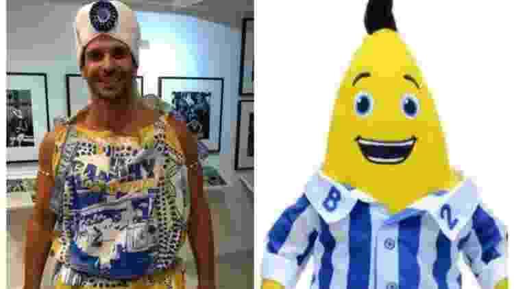 """A nova fantasia dos Filhos de Gandhy virou alvo de montagens na internet e foi comparada aos """"Bananas de Pijama"""" - Reprodução - Reprodução"""