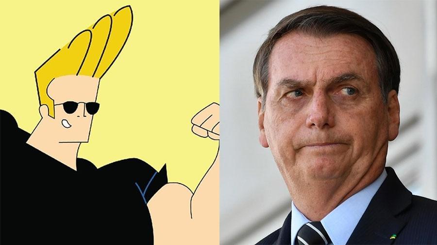 O personagem Johnny Bravo e Jair Bolsonaro - Divulgação e Mateus Bonomi/Agif/Estadão Conteúdo