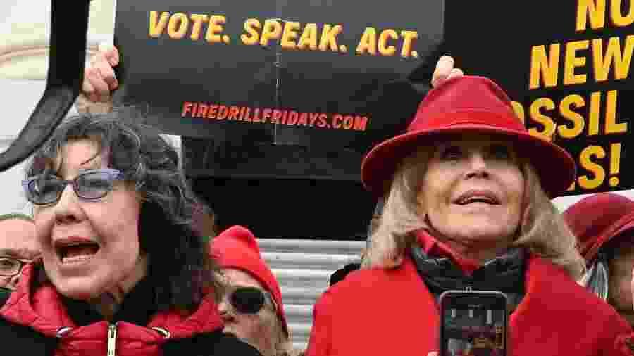 Lily Tomlin e Jane Fonda protestam em Washington, nos Estados Unidos - Eva HAMBACH / AFP