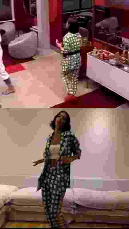 Manu usando o look no BBB e Bruna Marquezine com a mesma roupa, durante gravação de vídeo em campanha para Manu ficar no reality - Reprodução