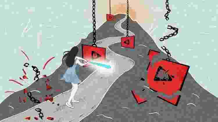 Ilustração de mulher batendo em tela com taco de beisebol - Jilla Dastmalchi/BBC - Jilla Dastmalchi/BBC