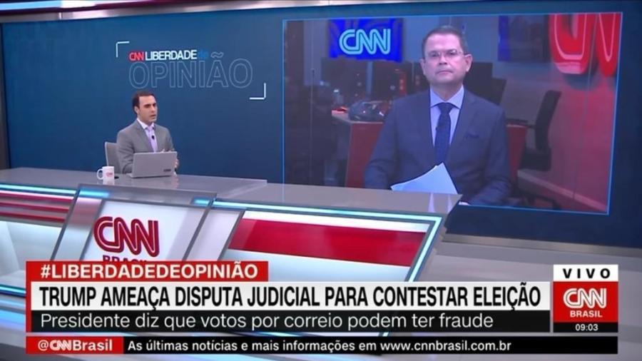 """Rafael Colombo e Sidney Rezende durante o quadro """"Liberdade de Opinião"""", da CNN Brasil  - Reprodução"""