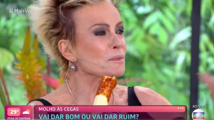 Ana Maria Braga comendo banana com molho de pimenta no Mais Você - Reprodução / TV Globo