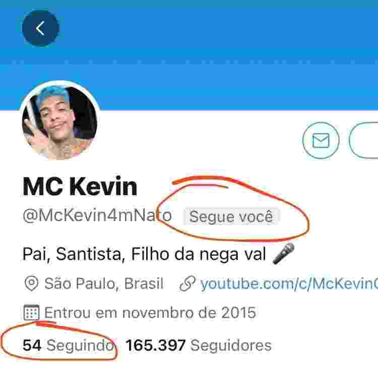 Felipe Neto mostra que era seguido por MC Kevin - Reprodução/Twitter - Reprodução/Twitter