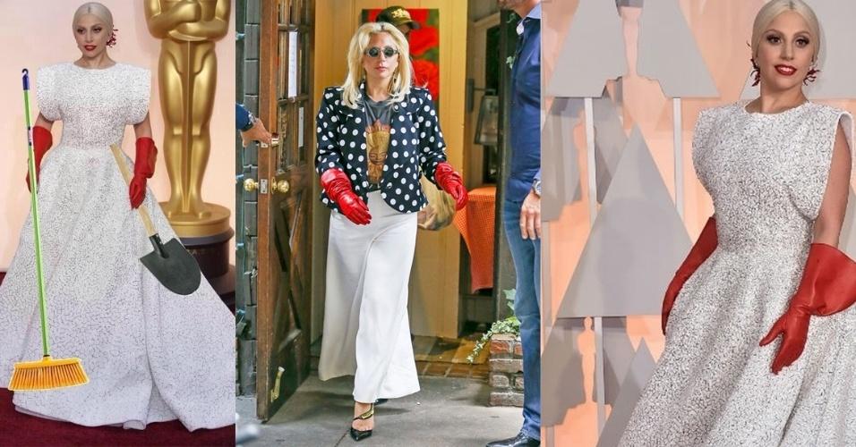 22.jun.2015 - Lady Gaga circulou por Nova York no domingo aparentemente usando o mesmo par de luvas vermelhas que ficaram famosos na cerimônia do Oscar este ano, após renderem vários memes. Só que desta vez, ao contrário do vestido branco que usou na ocasião, ela preferiu uma roupa mais despojada para almoçar com o pai, em comemoração ao Dia dos Pais nos Estados Unidos, comemorado em 21 de junho