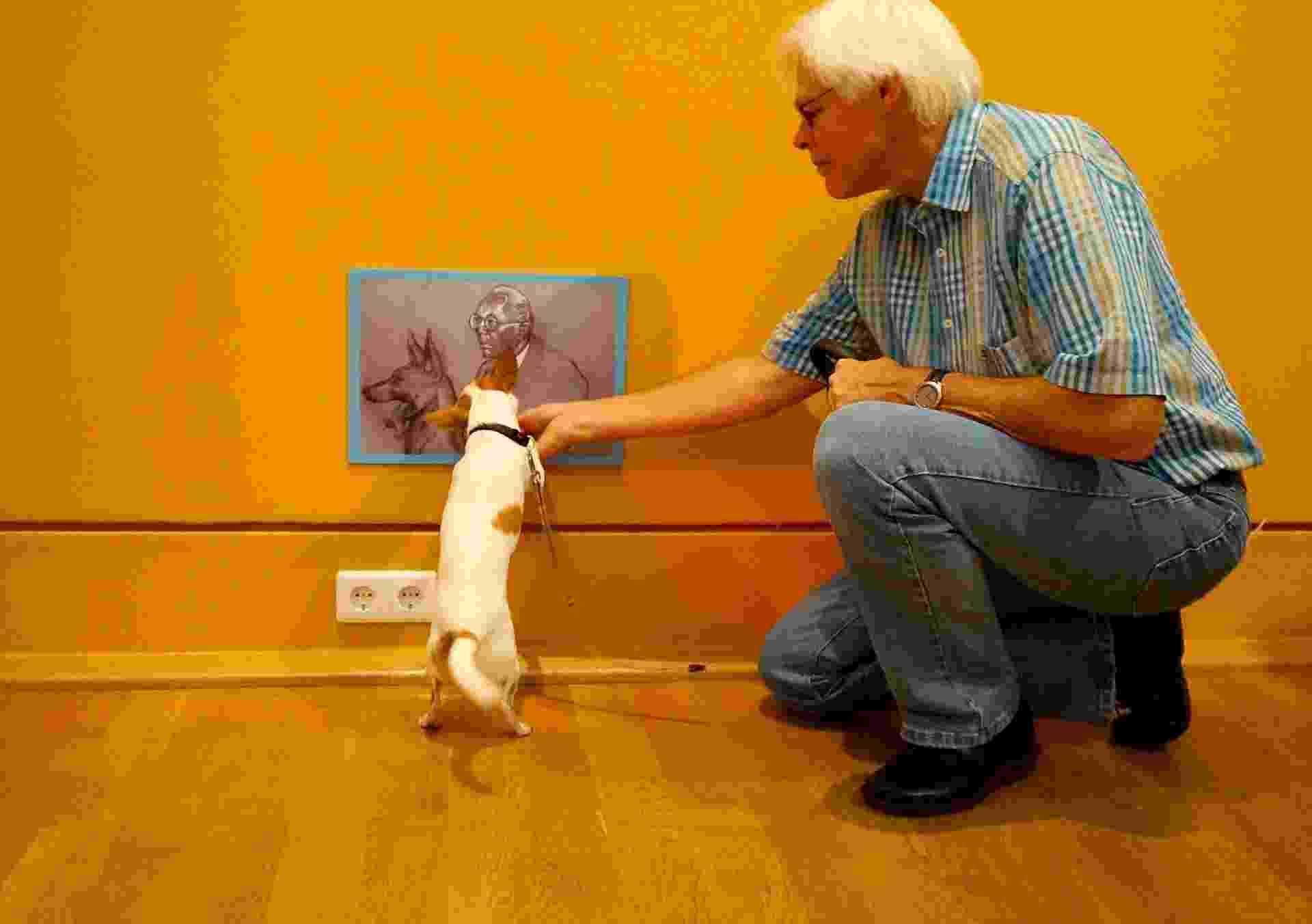 """Cachorros se comportaram durante visita ao museu, mas interesse na arte teve que ser """"comprado"""" - Clarissa Neher/BBC"""