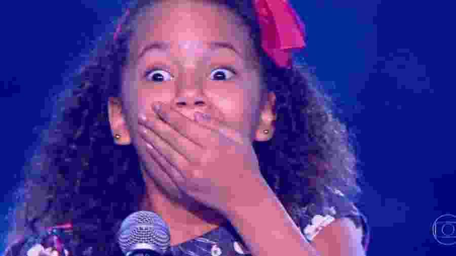 """Ana Julia levou um usto ao ser escolhida para entrar no """"The Voice Kids"""" - Reprodução/TV Globo"""