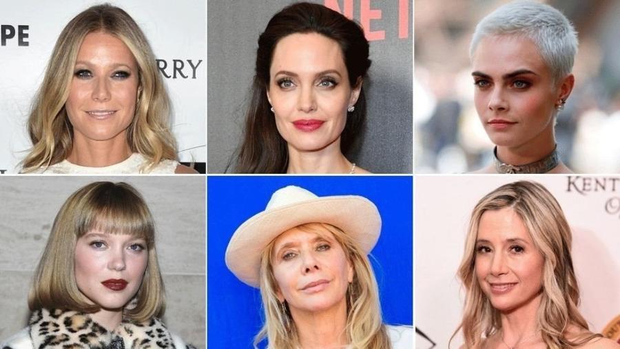 (Da esquerda para a direita): Gwyneth Paltrow, Angelina Jolie, Cara Delevingne, Lea Seydoux, Rosanna Arquette, Mira Sorvino - elas participaram do movimento #MeToo denunciando casos de assédio - Getty Images