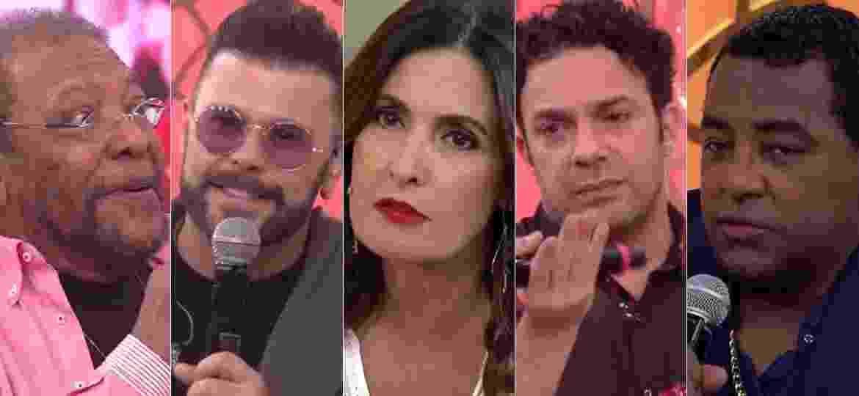 Martinho da Vila, Marcos, Fátima Bernardes, Marcelo Médici e Luiz Carlos - Montagem/UOL/Reprodução/TV Globo