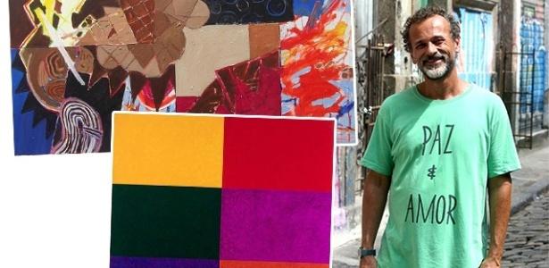 Obras de Luiz Aquila e Gonçalo Ivo e o produtor Paulo Branquinho - Divulgação