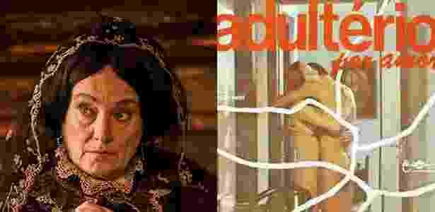 """Selma Egrei como a Encarnação e """"Velho Chico"""" e no filme """"Adultério por Amor"""" - Divulgação e Montagem/UOL"""