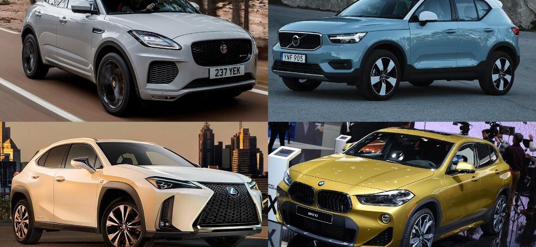 """Jaguar E-Pace, Volvo XC40, Lexus UX e BMW X2: os mais recentes representantes do crescente segmento de """"suvinhos de luxo"""" - Divulgação/Murilo Góes/Arte UOL"""