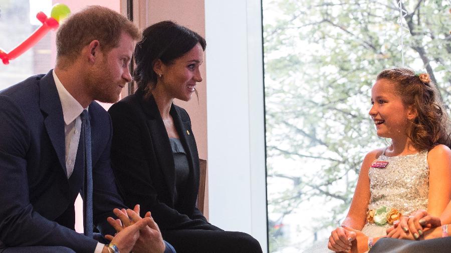 O príncipe Harry e Meghan, a duquesa de Sussex, contaram seus filmes favoritos para Chloe Henderson, de 10 anos - Getty Images