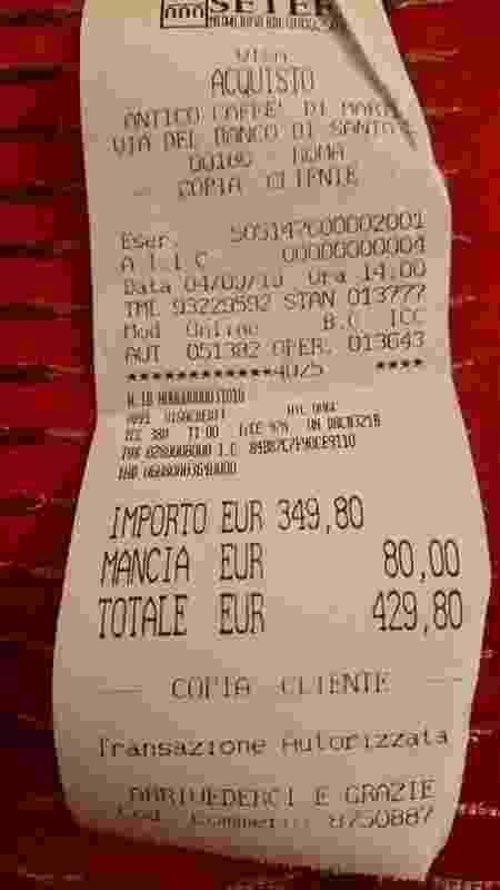 Nota de 430 euros (cerca de R$ 1,9 mil) em apenas dois espaguetes - Facebook/ANSA