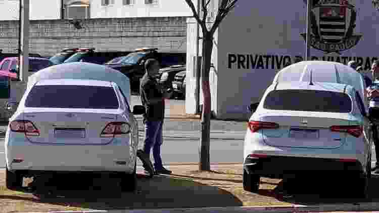 Carros apreendidos pela Polícia Civil de São Paulo com placa Mercosul clonada - Divulgação - Divulgação