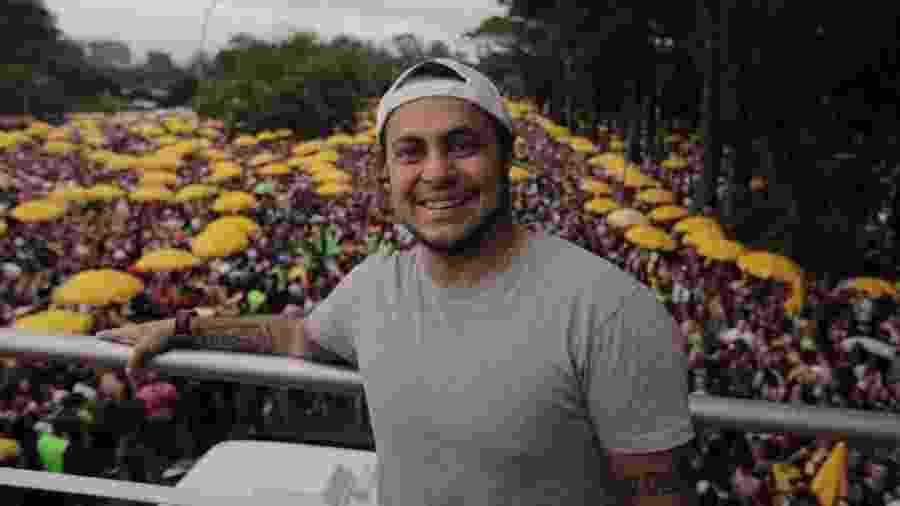22.fev.2020 - Thammy Miranda, filho de Gretchen, participa do Bloco Agrada Gregos no Ibirapuera - André Lucas/UOL
