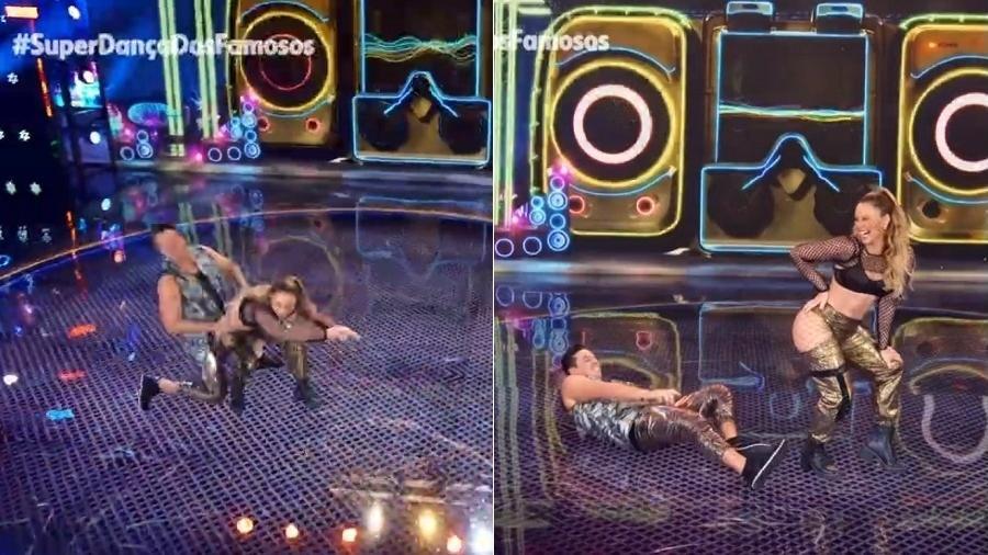 Paolla derruba parceiro com bundada - Reprodução/TV Globo