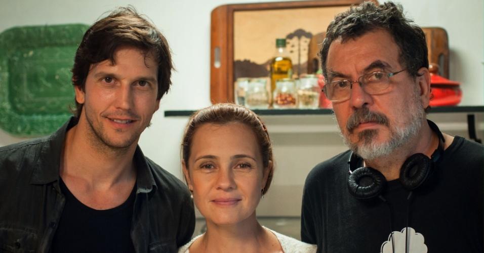 Vladimir Brichta, Adriana Esteves e o diretor Jorge Furtado