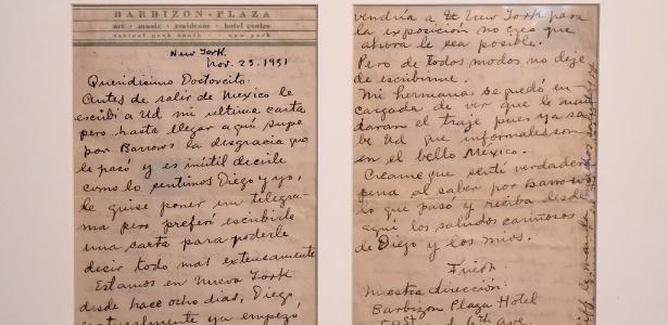 "Carta escrita por Frida Kahlo no museu ""Casa Estudio Diego Rivera y Frida Kahlo"" - Ronaldo Schemidt/AFP Photo"